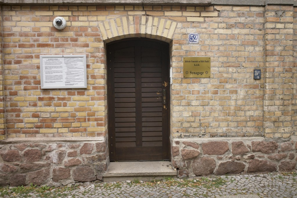 Bullet holes are still visible in the wooden door of the synagogue in Halle, Germany, Monday, July 20, 2020. The trial of a heavily armed attacker who...