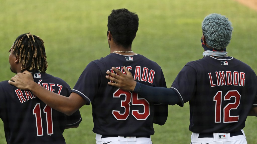 Members of the Cleveland Indians stand for the National Anthem before a preseason baseball game against the Pittsburgh Pirates, Monday, July 20, 2020,...