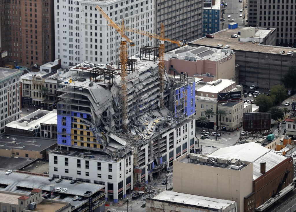 FILE - This Oct. 12, 2019, file photo, shows damage of a partial collapse at the Hard Rock Hotel under construction in New Orleans. New Orleans' fire ...