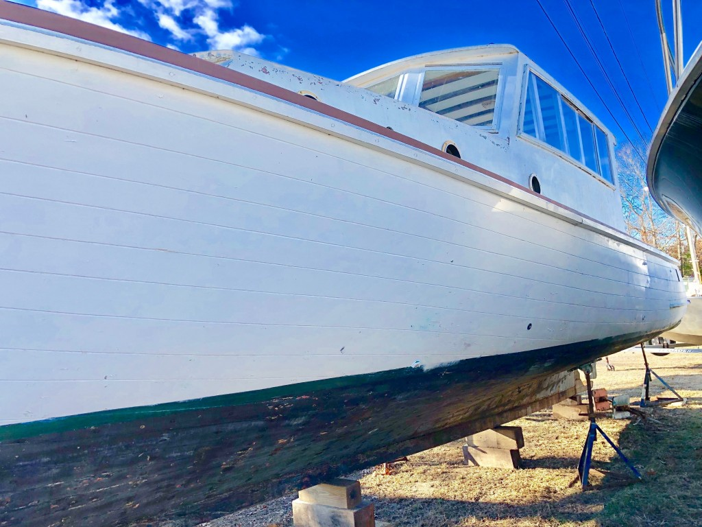 This July 20, 2020 photo provided by David Bigelow in Vineyard Haven, Mass. shows part of a boat that is being retrofitted to replicate the boat from ...