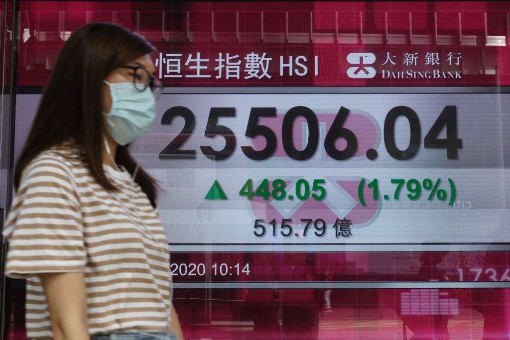 A woman wearing a face mask walks past a bank's electronic board showing the Hong Kong share index in Hong Kong, Tuesday, July 21, 2020. Asian shares ...