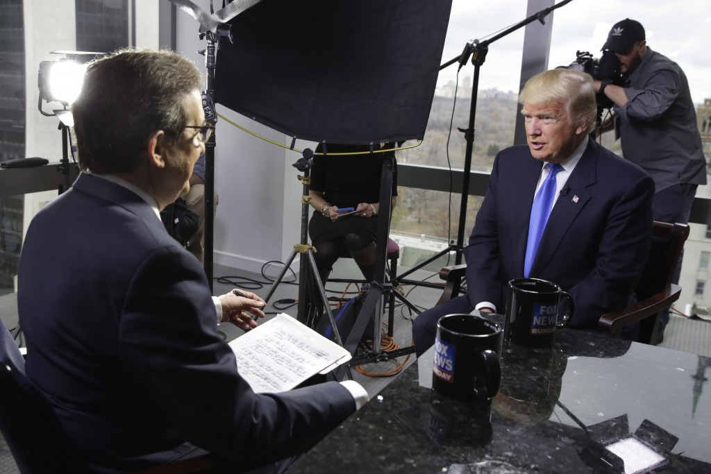 """FILE - Chris Wallace, of """"Fox News Sunday,"""" left, interviews president-elect Donald Trump on Dec. 10, 2016 in New York. Two veteran journalists who no..."""