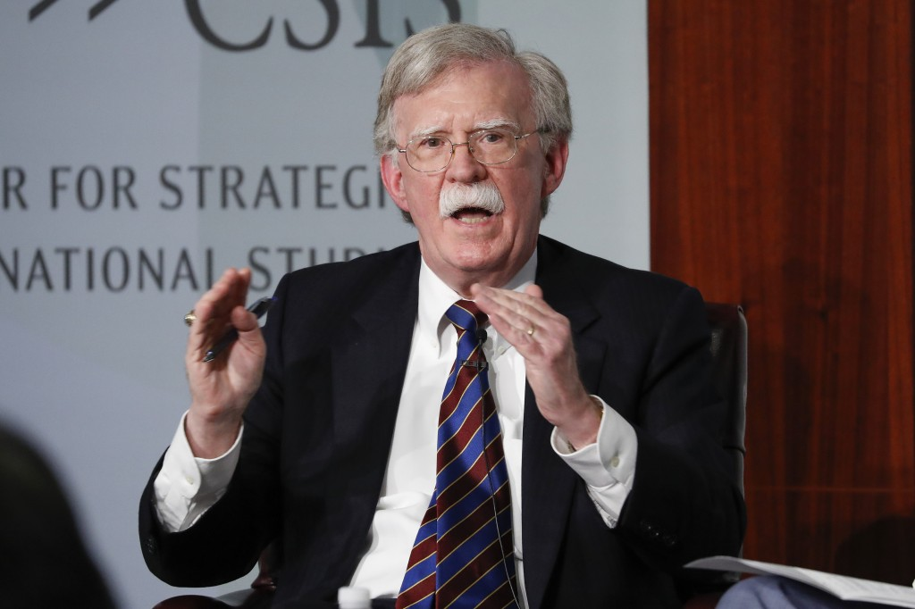 FILE - In this Sept. 30, 2019, file photo, former National security adviser John Bolton gestures while speakings at the Center for Strategic and Inter...