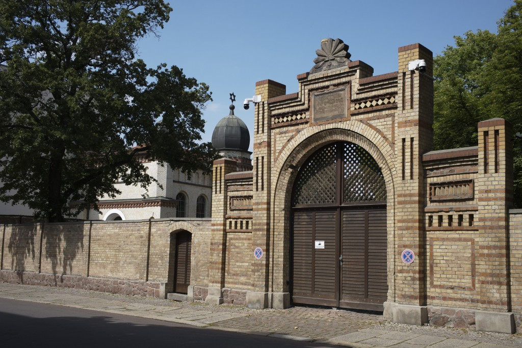 A star of David stands at the top behind the entrance of the synagogue in Halle, Germany, Monday, July 20, 2020. The trial of a heavily armed attacker...