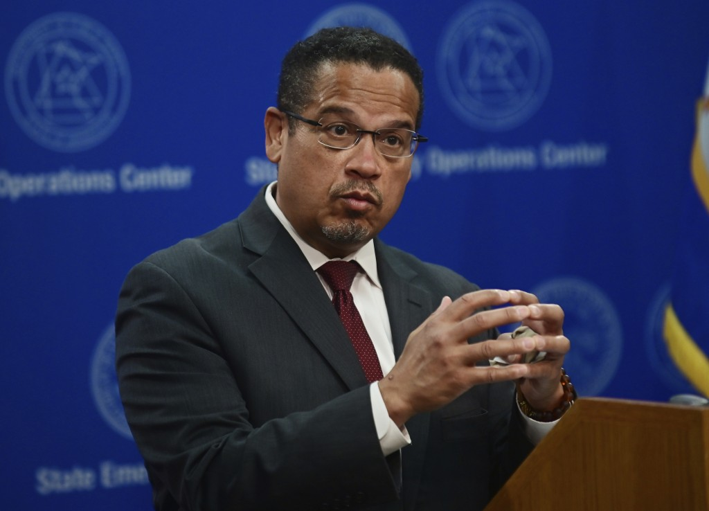 FILE - In this May 27, 2020, file photo, Minnesota Attorney General Keith Ellison answers questions during a news conference in St. Paul, Minn., about...
