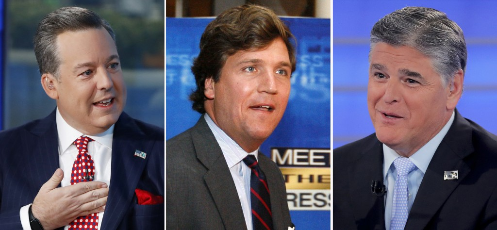 "In this combination photo, Ed Henry, from left, speaks on ""Fox & Friends"" on Sept. 6, 2019, in New York, Tucker Carlson arrives for the 60th anniversa..."