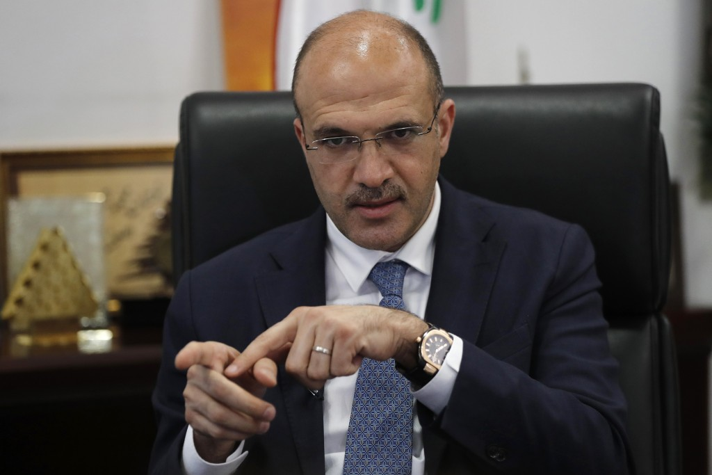 Lebanese Health Minister Hamad Hassan speaks during an interview with the Associated Press, in Beirut, Lebanon, Monday, July 20, 2020. Hassan said tha...
