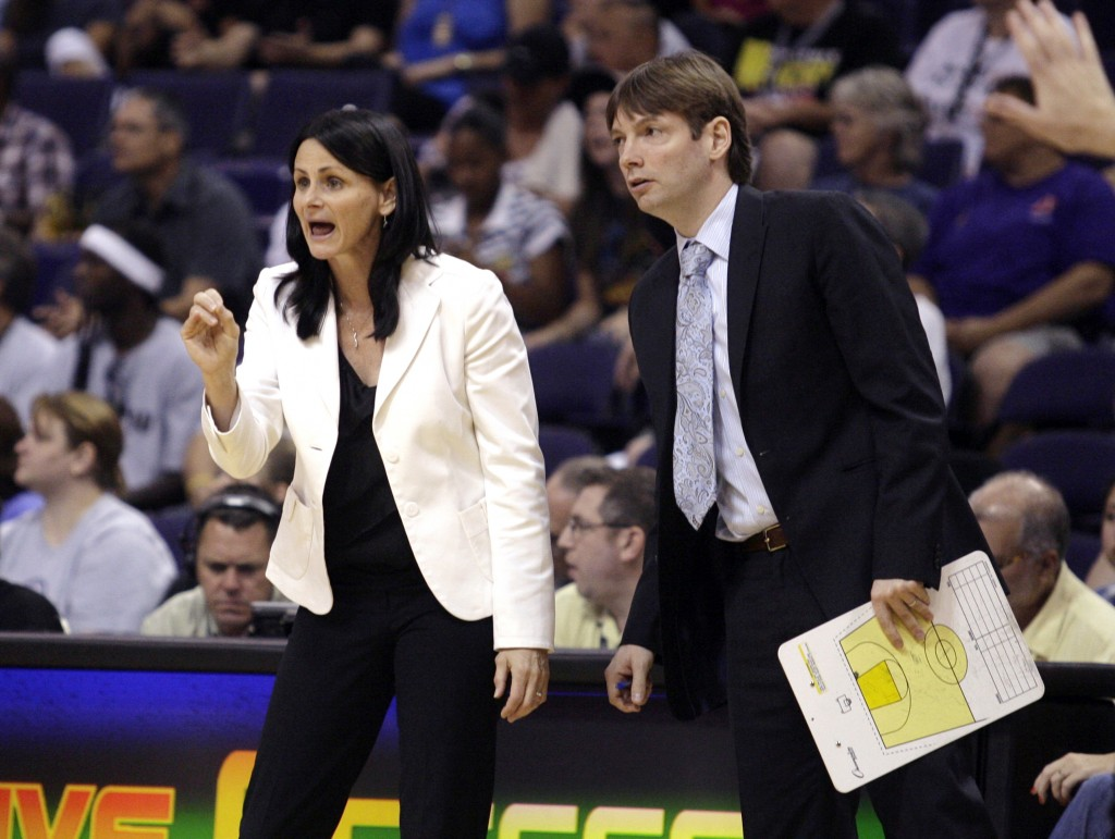 FILE - In this Aug. 26, 2010, file photo, San Antonio Silver Stars coaches Sandy Brondello, left, and Olaf Lange watch their team play against the Pho...
