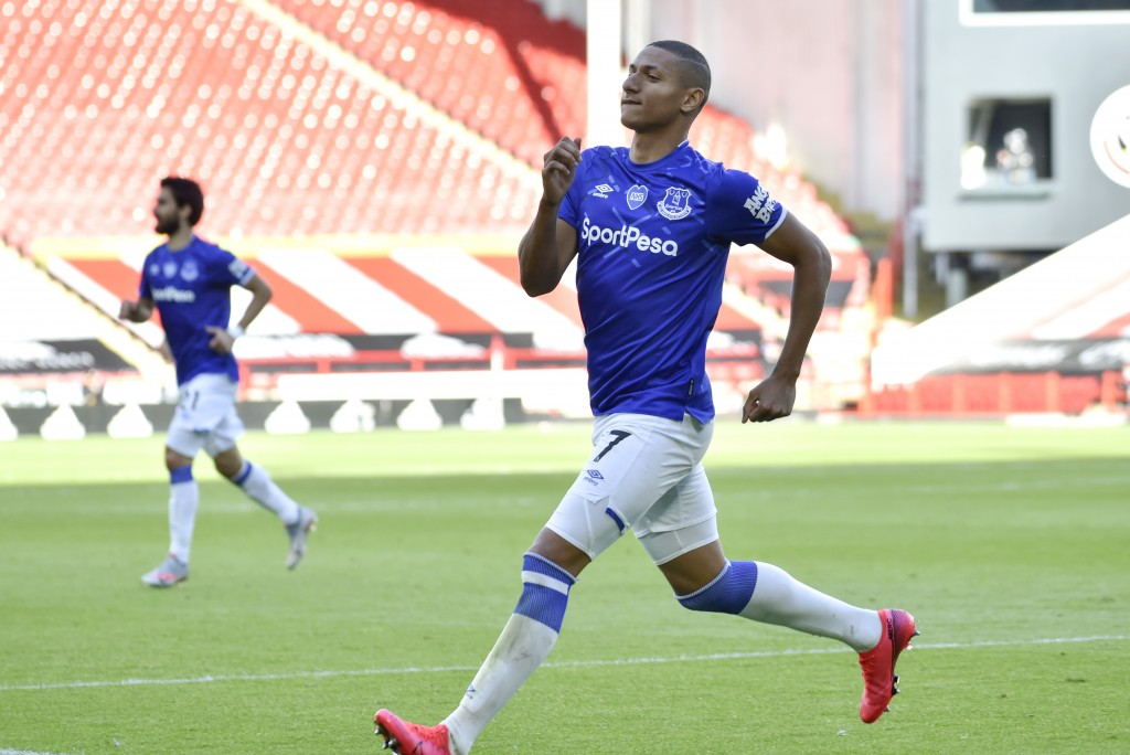 Everton's Richarlison celebrates after scoring a goal during the English Premier League soccer match between Sheffield United and Everton at Bramall L...