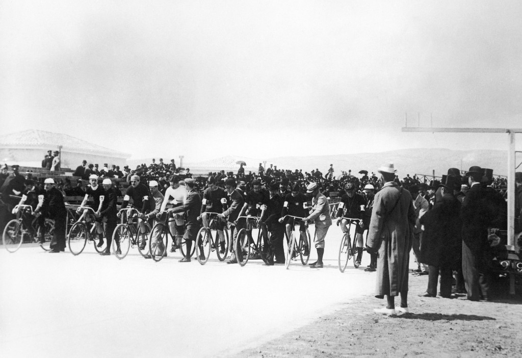 FILE - This April 12, 1896, file photo shows the start of a 12-hour bicycle race at the Neo Phaliron Velodrome in Athens, Greece, the final event of t...