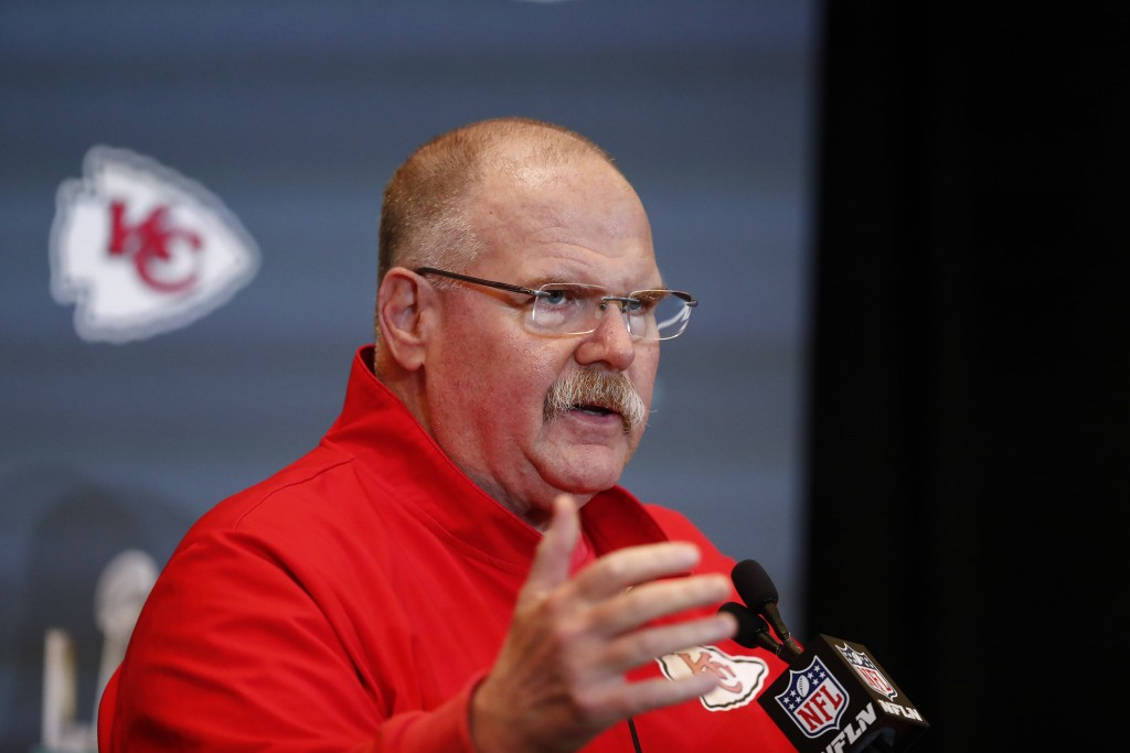 FILE - In this Jan. 30, 2020, file photo, Kansas City Chiefs NFL football head coach Andy Reid speaks during a news conference in Aventura, Fla. In se...
