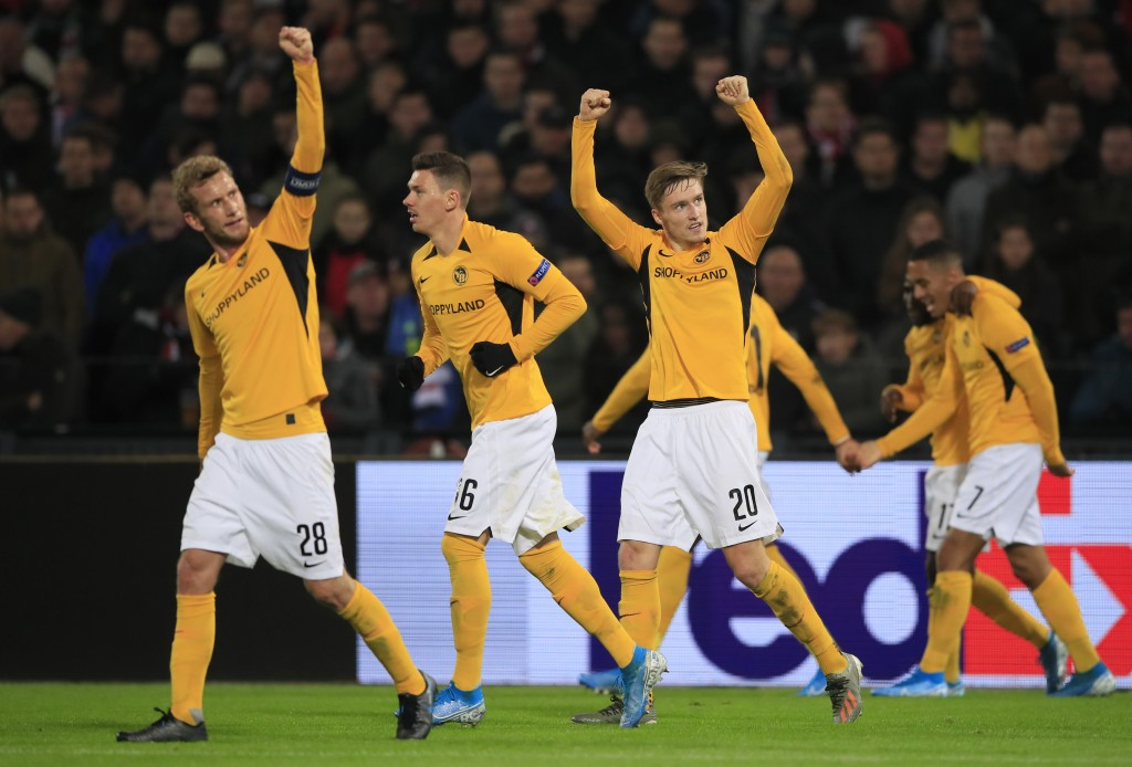 FILE - In this Thursday, Nov. 7, 2019 file photo, Young Boys players celebrate scoring their side's first goal during a Europa League group G soccer m...