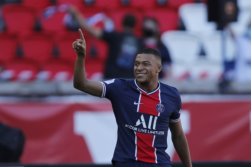 PSG's Kylian Mbappe reacts after scoring his side first goal during a friendly soccer match between Paris Saint Germain and Glasgow Celtic FC at Parc ...