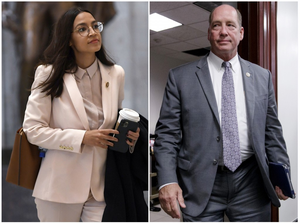 This combo shows Rep. Alexandria Ocasio-Cortez, D-N.Y., walks Capitol Hill in Washington, on March 27, 2020, left, and Rep. Ted Yoho, R-Fla., at the C...