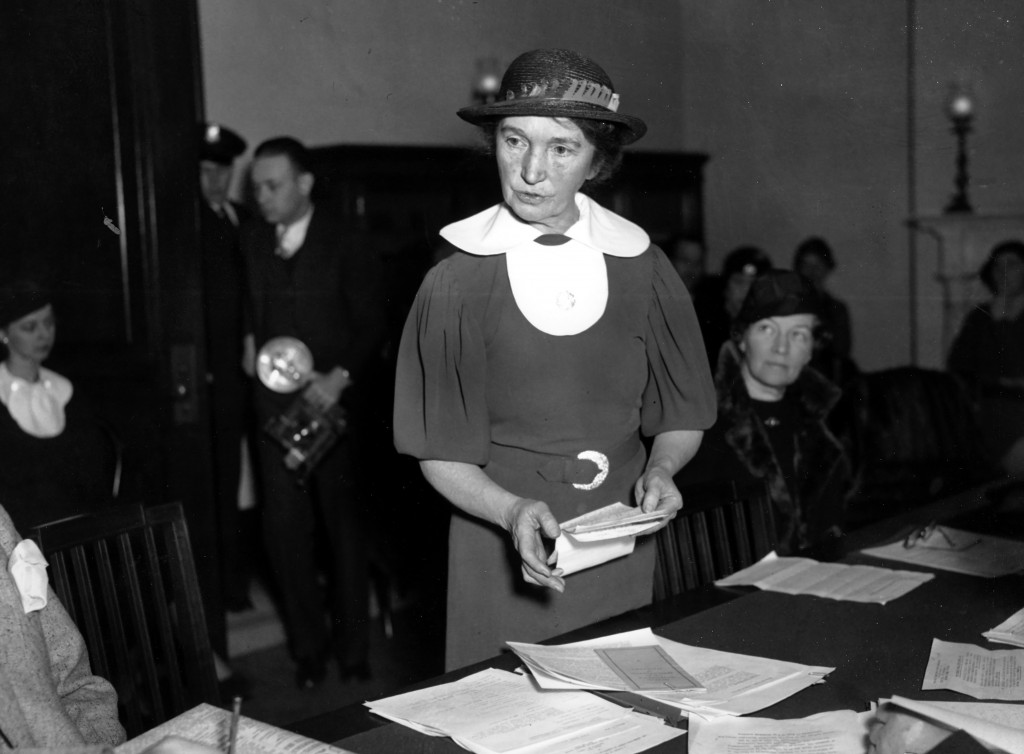 FILE - In this March 1, 1934 file photo, Margaret Sanger, who founded the American Birth Control League in 1921, speaks before a Senate committee to a...