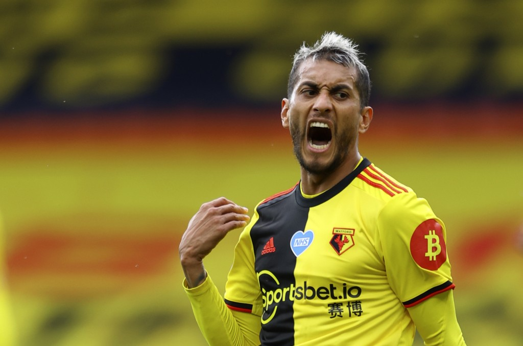 Watford's Roberto Pereyra reacts during the English Premier League soccer match between Watford and Manchester City at the Vicarage Road Stadium in Wa...