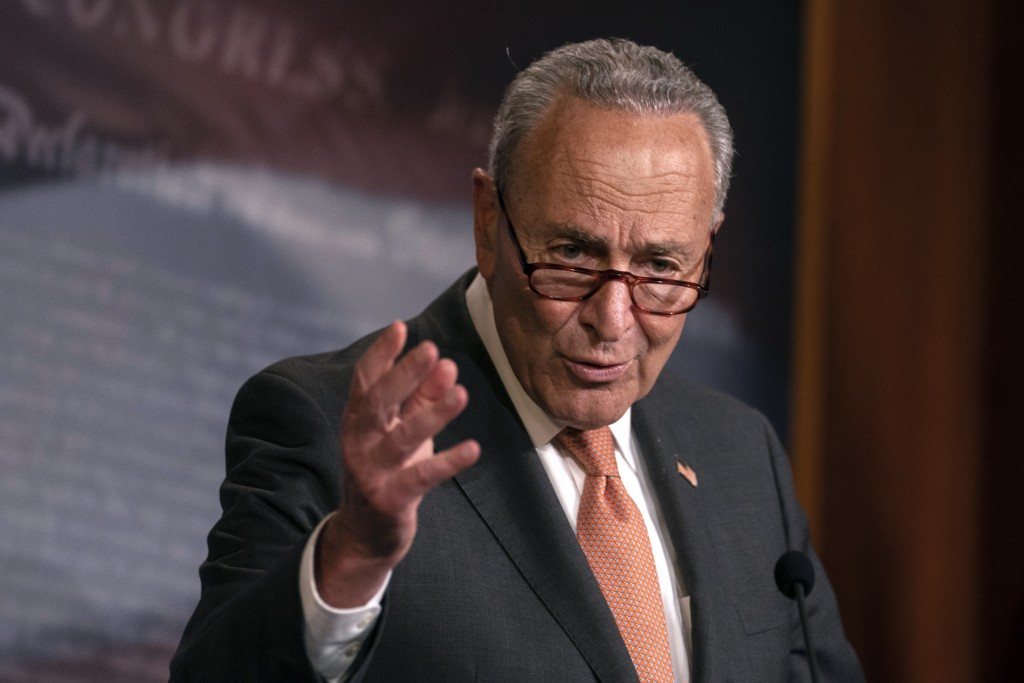 Senate Minority Leader Sen. Chuck Schumer of N.Y., speaks during a news conference on Capitol Hill in Washington, Tuesday, July 21, 2020. (AP Photo/Ca...