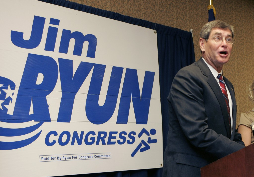 FILE - In this Aug. 6, 2008 file photo, former congressman Jim Ryun speaks to supporters during an election watch party in Topeka, Kan. Ryun announced...