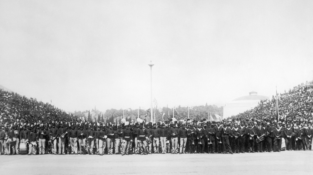 FILE - This April 6, 1896, file photo is a general view of the audience at the opening of the first modern Summer Olympic Games held in Athens, Greece...