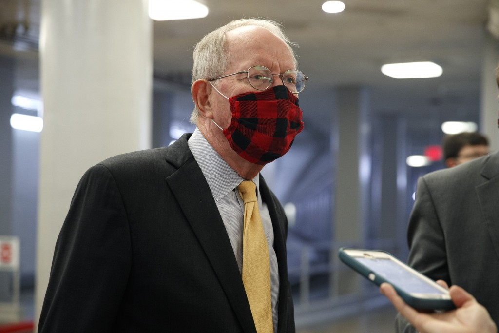 Sen. Lamar Alexander, R-Tenn., speaks to reporters after meeting with Treasury Secretary Steven Mnuchin and White House Chief of Staff Mark Meadows, T...