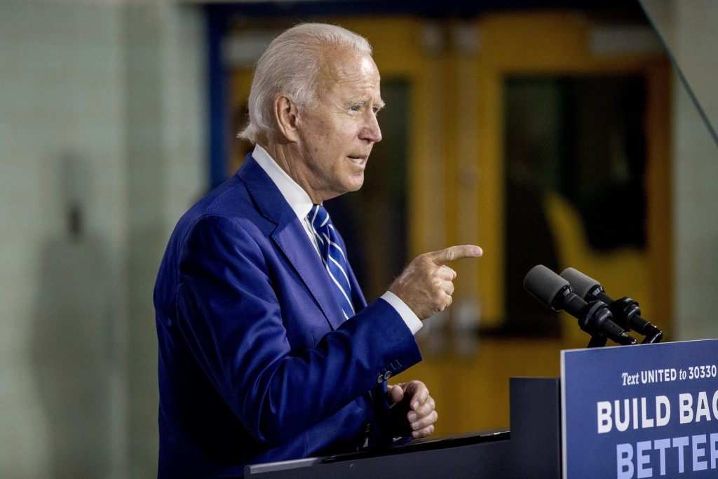 Democratic presidential candidate former Vice President Joe Biden speaks at a campaign event at the Colonial Early Education Program at the Colwyck Tr...