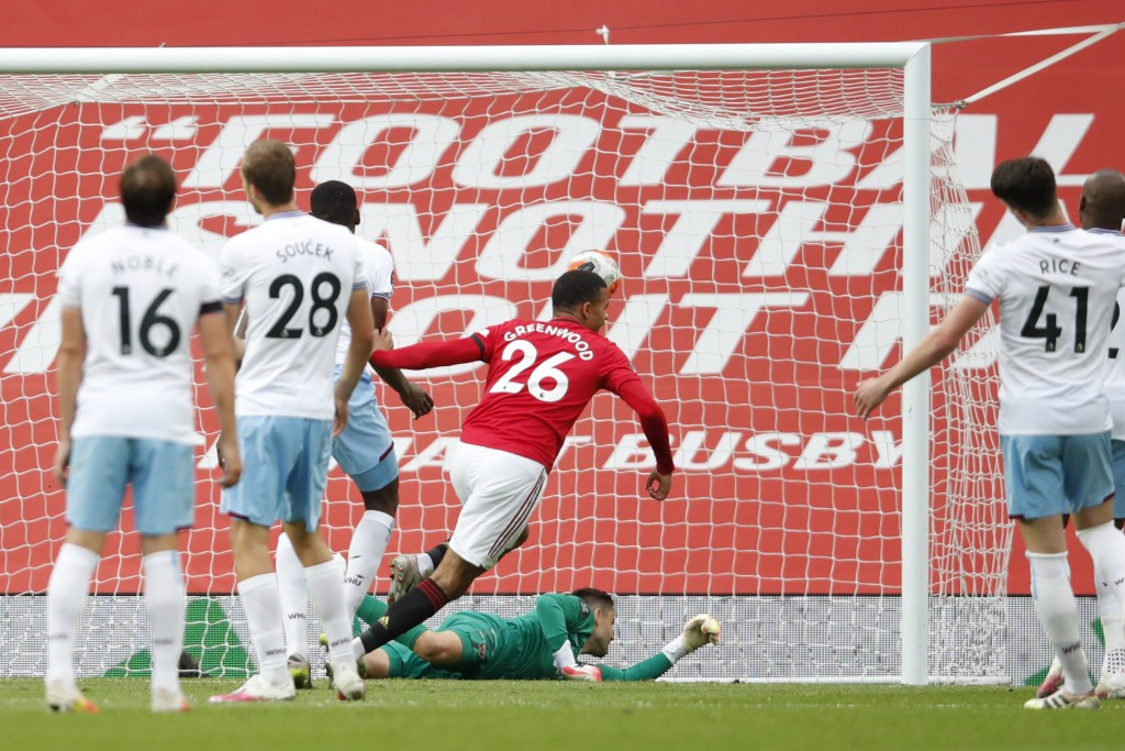 Manchester United's Mason Greenwood scores his side's opening goal during the English Premier League soccer match between Manchester United and West H...