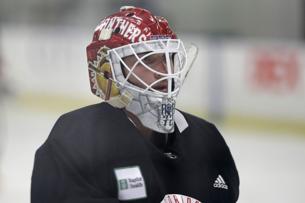 Florida Panthers goalie Sergei Bobrovsky looks on during NHL hockey practice, Wednesday, July 22, 2020, at the team's training facility in Coral Sprin...