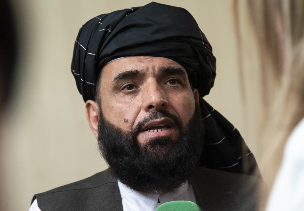 FILE - In this May 28, 2019 file photo, Suhail Shaheen, spokesman for the Taliban's political office in Doha, speaks to the media in Moscow, Russia.  ...