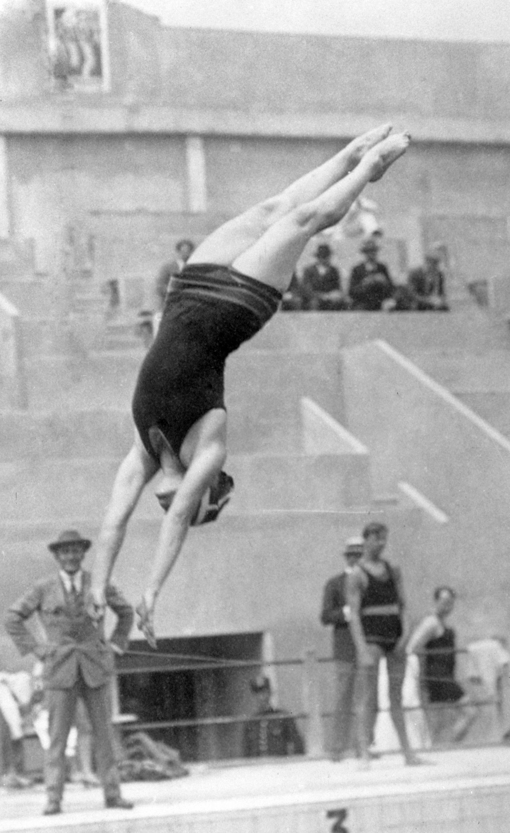 FILE - In this 1924 file photo, American diver Elizabeth Becker competes during the women's springboard competition at the 1924 Olympics in Paris. She...