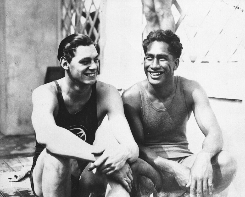 FILE - In this 1924 file photo, olympians Johnny Weissmuller, left, and Duke Kahanamoku are seen at the 1924 Olympic games in Paris. (AP Photo/File)