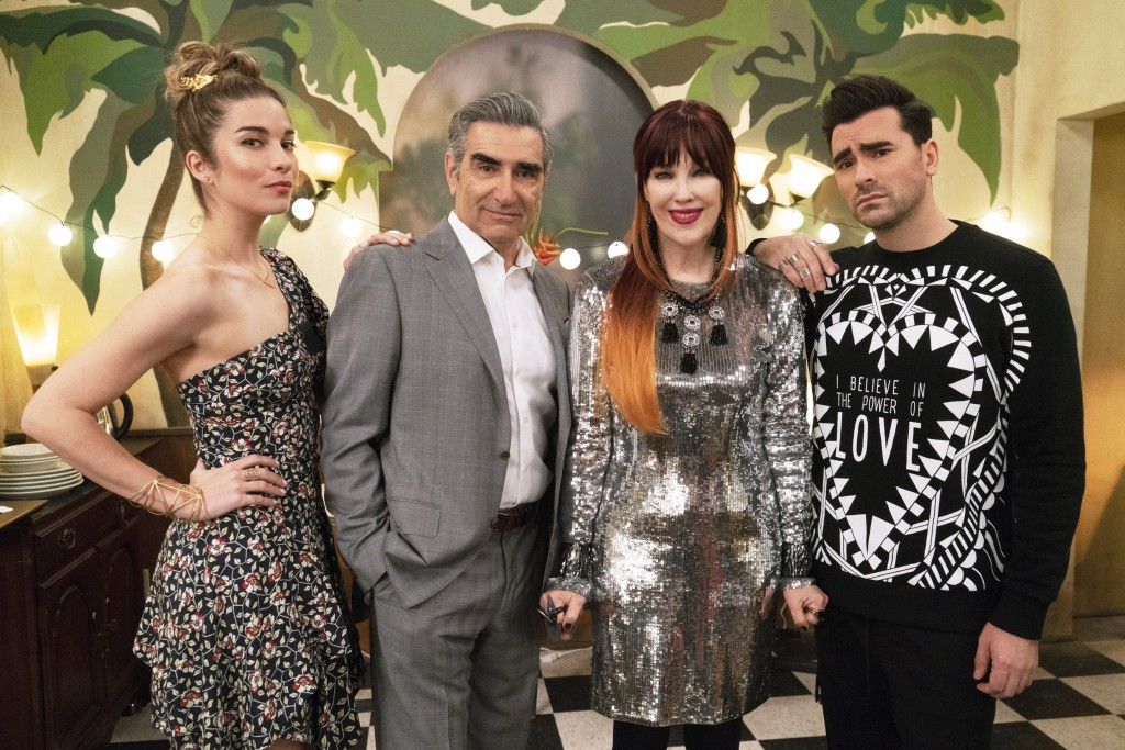 """This image released by Pop TV shows, from left, Annie Murphy, Eugene Levy, Catherine O'Hara and Dan Levy from the series """"Schitt's Creek.""""  Nomination..."""