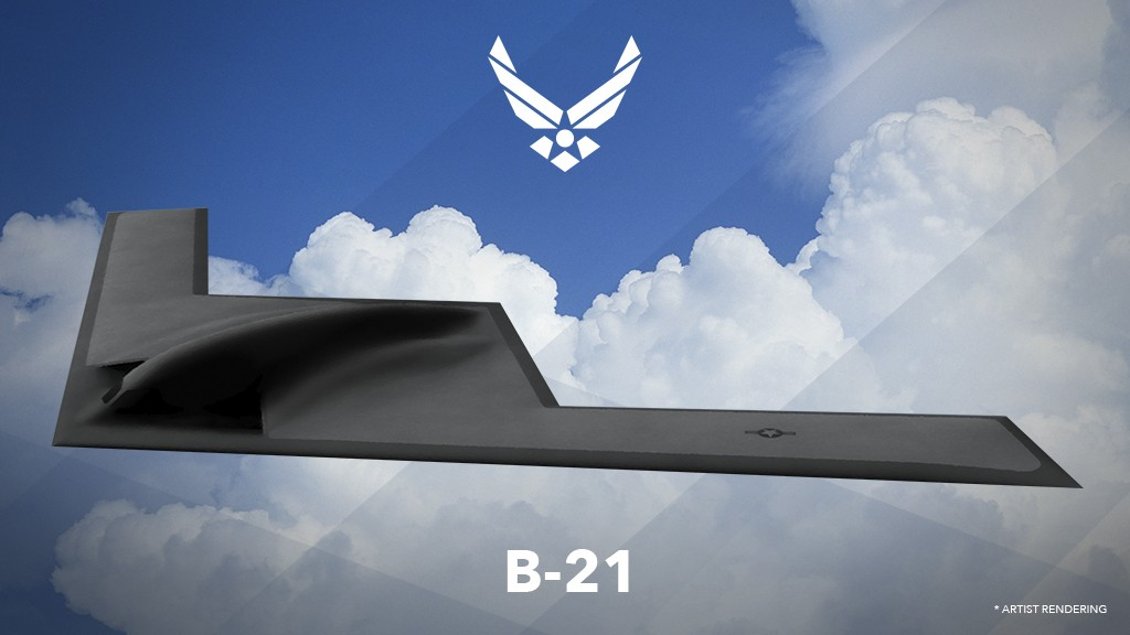 This undated artist rending provided by the U.S. Air Force shows a U.S. Air Force graphic of the Long Range Strike Bomber, designated the B-21. The Ai...