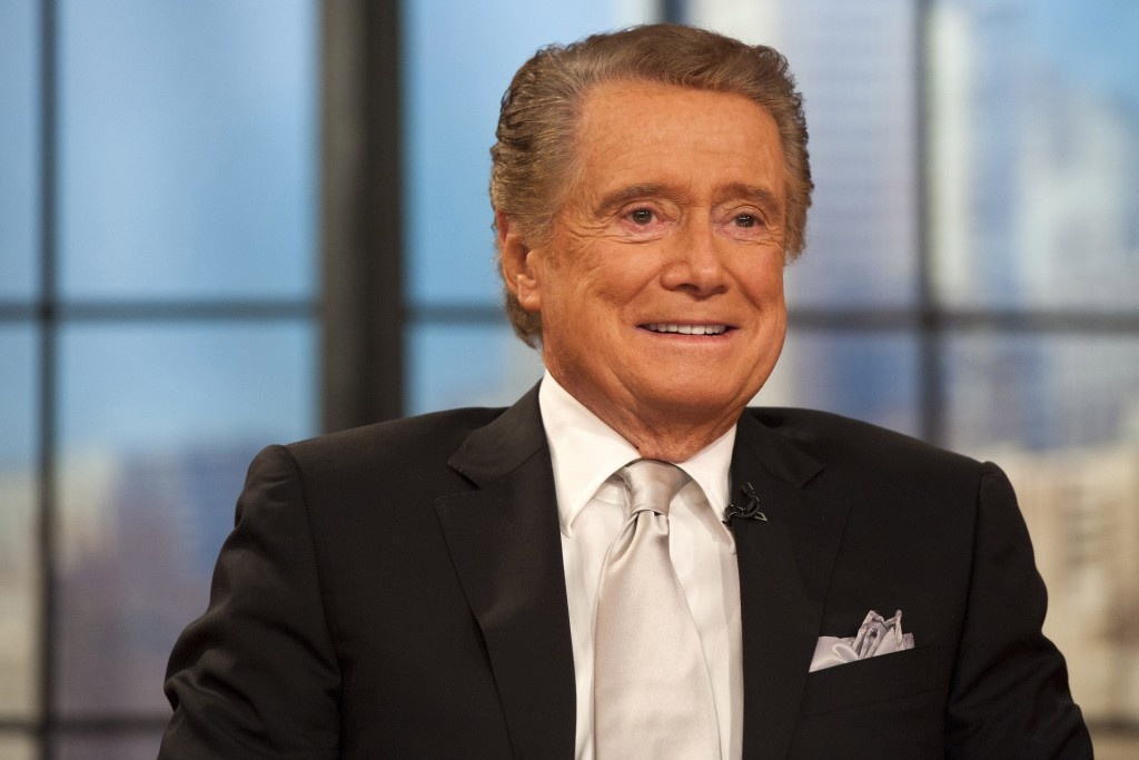 """FILE - In this Nov. 18, 2011 file photo, Regis Philbin appears on his farewell episode of """"Live! with Regis and Kelly"""", in New York. Philbin, the geni..."""