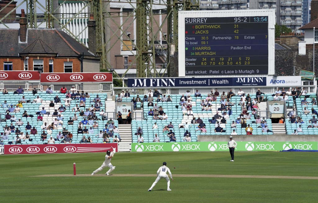 Surrey's Will Jacks bats during the friendly cricket match at the Oval, London, Sunday, July 26, 2020. Spectators have been allowed into a sporting ev...