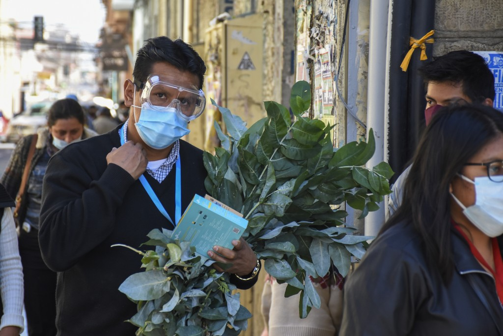 A man wearing goggles and a protective face mask, carries a bundle of traditional medicinal herbs for the treatment of respiratory illnesses in Cochab...