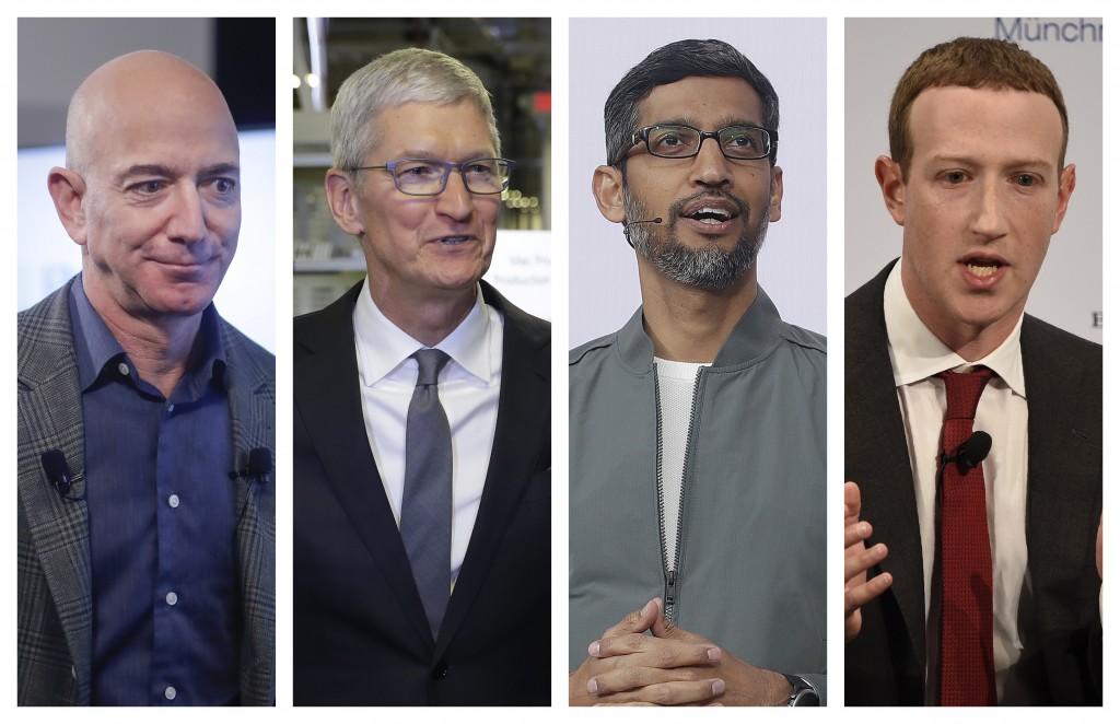 This combination of 2019-2020 photos shows Amazon CEO Jeff Bezos, Apple CEO Tim Cook, Google CEO Sundar Pichai and Facebook CEO Mark Zuckerberg. On We...
