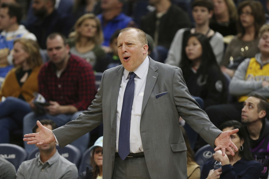 FILE - In this Jan. 6, 2019 file photo, Minnesota Timberwolves' head coach Tom Thibodeau calls out to his team during the second half of an NBA basket...