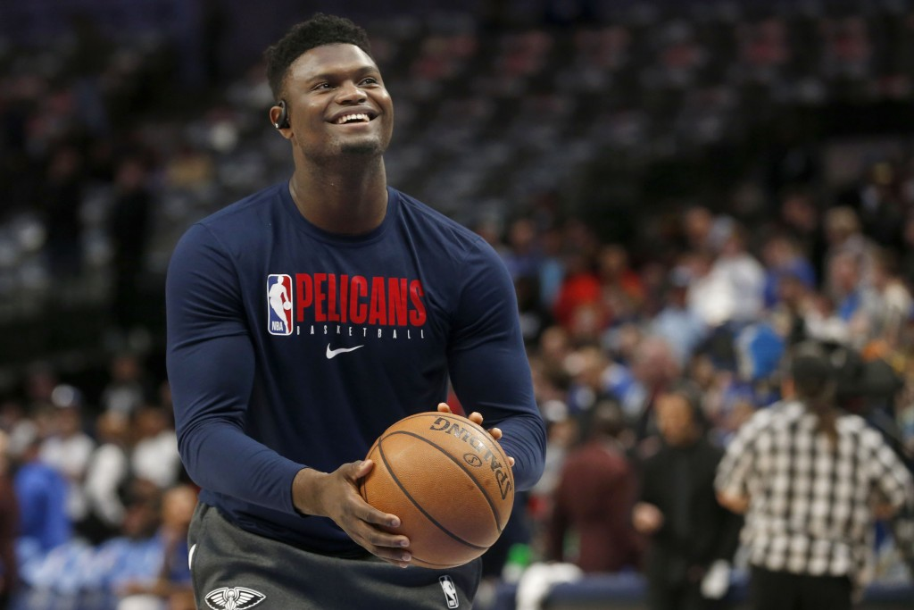 FILE - In this March 4, 2020, file photo, New Orleans Pelicans forward Zion Williamson shoots free throws prior to an NBA basketball game against the ...