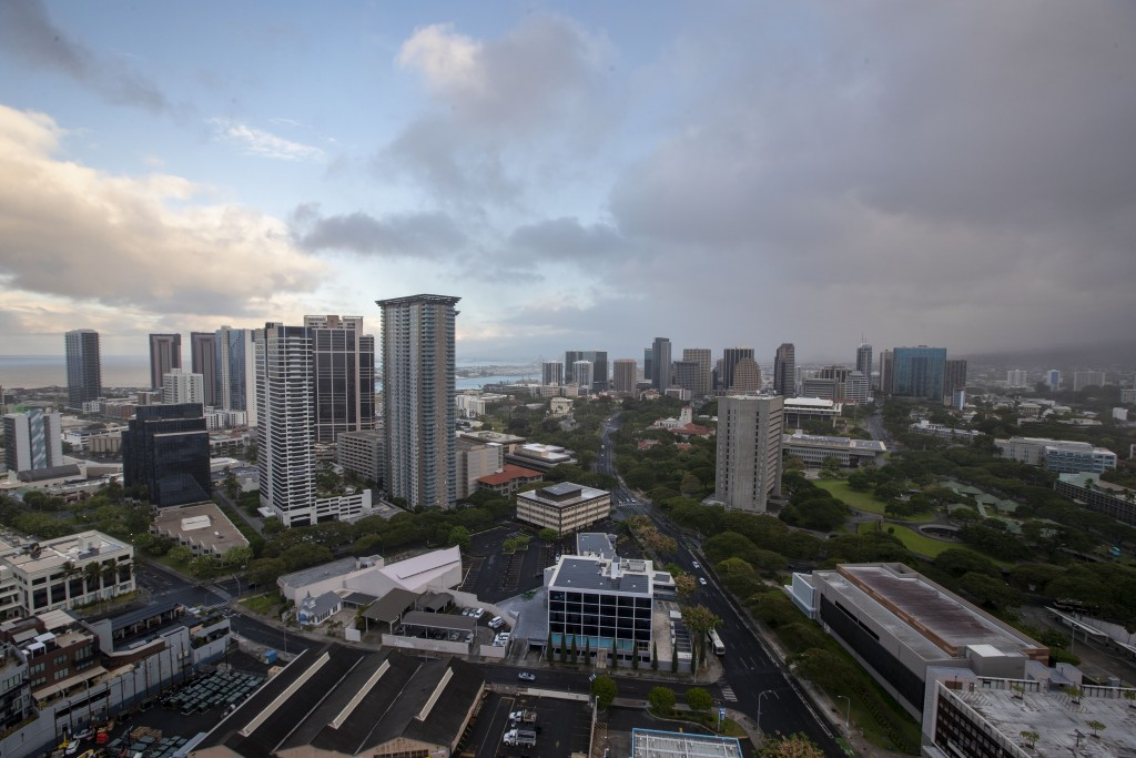 A morning view of the city of Honolulu on the island of Oahu, is seen Sunday, July 26, 2020.  The islands of Kauai, Oahu and all of Maui County are un...