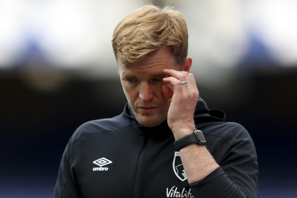 Bournemouth's manager Eddie Howe walks off the pitch after their English Premier League soccer match between Everton and Bournemouth at Goodison Park ...