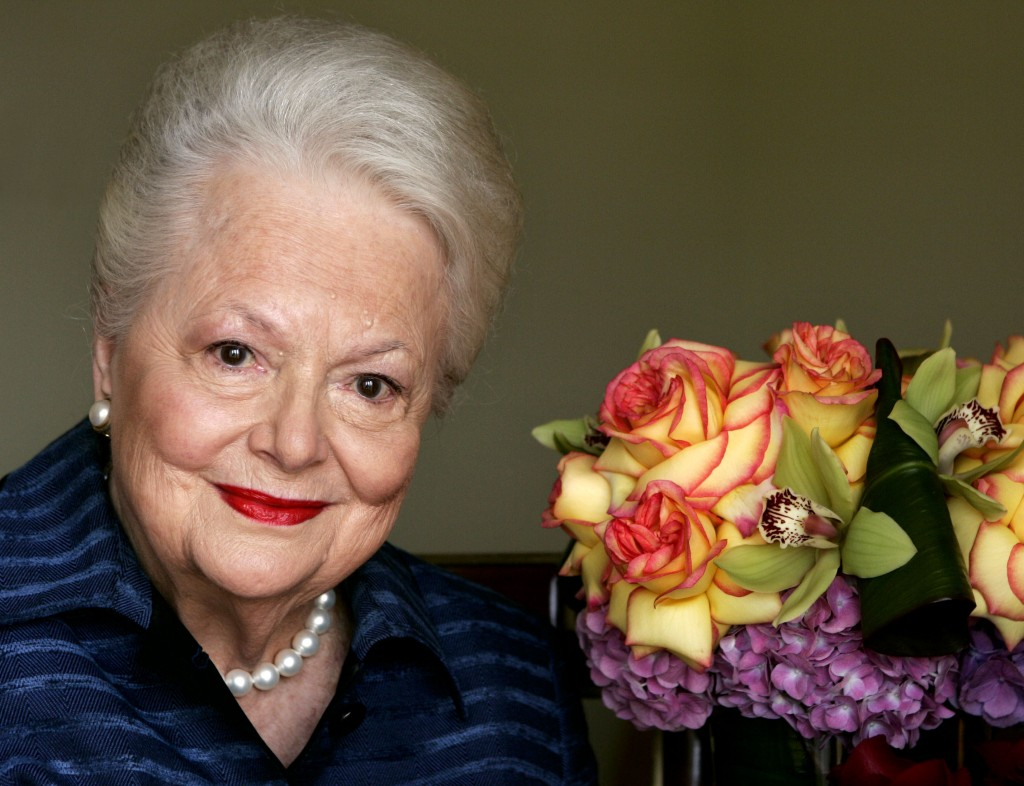 """FILE - In this file photo dated Wednesday, Sept. 15, 2004, Actress Olivia de Havilland, who played the doomed Southern belle Melanie in """"Gone With the..."""