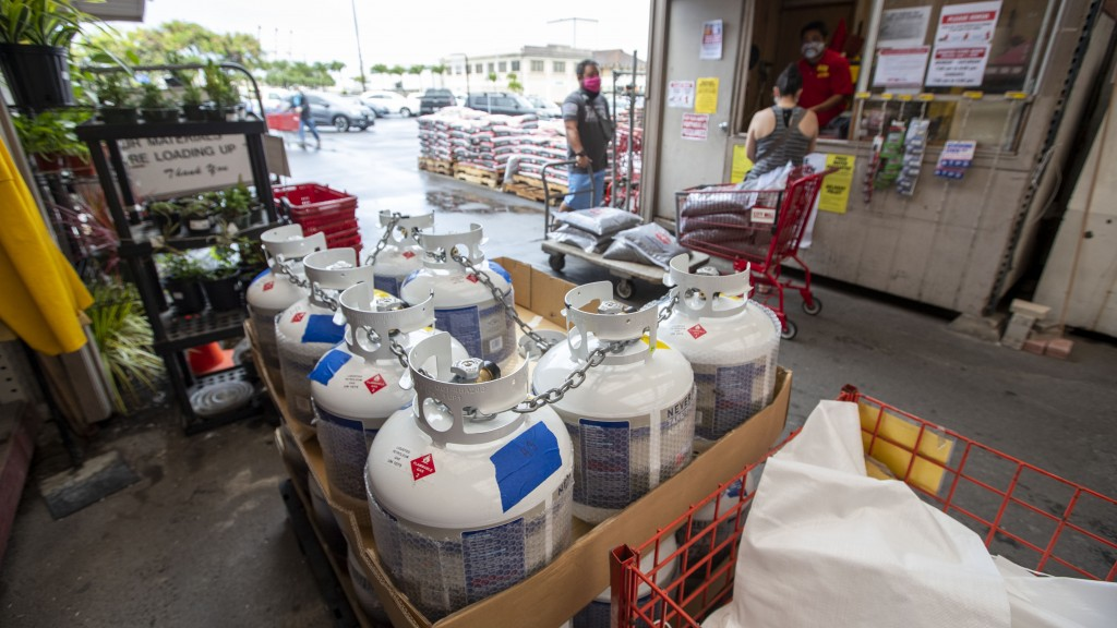 The local City Mill hardware store still has propane gas in stock, Sunday, July 26, 2020, in Honolulu. Oahu residents are preparing for the arrival of...