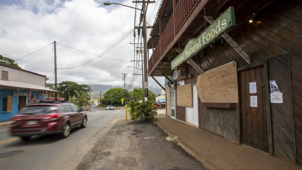 Businesses in the Oahu north shore area of Haleiwa, Hawaii, are boarded up and closed Sunday, July 26, 2020, Heavy rain and wind gusts battered Maui o...