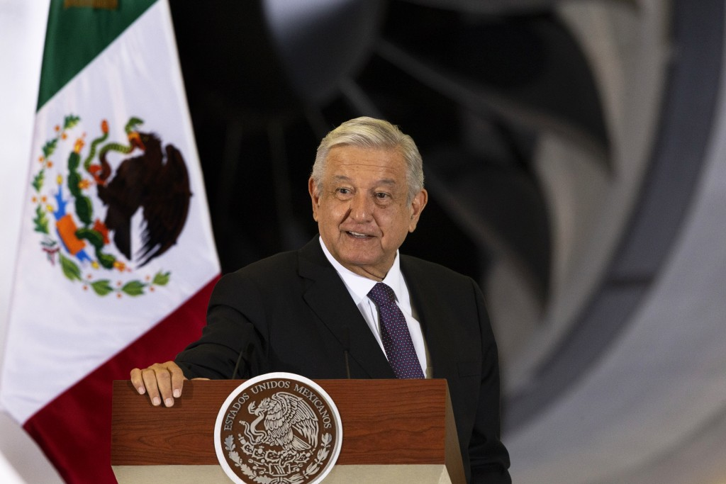 Mexican President Andres Manuel Lopez Obrador gives his daily, morning press conference in front of the former presidential plane at Benito Juarez Int...