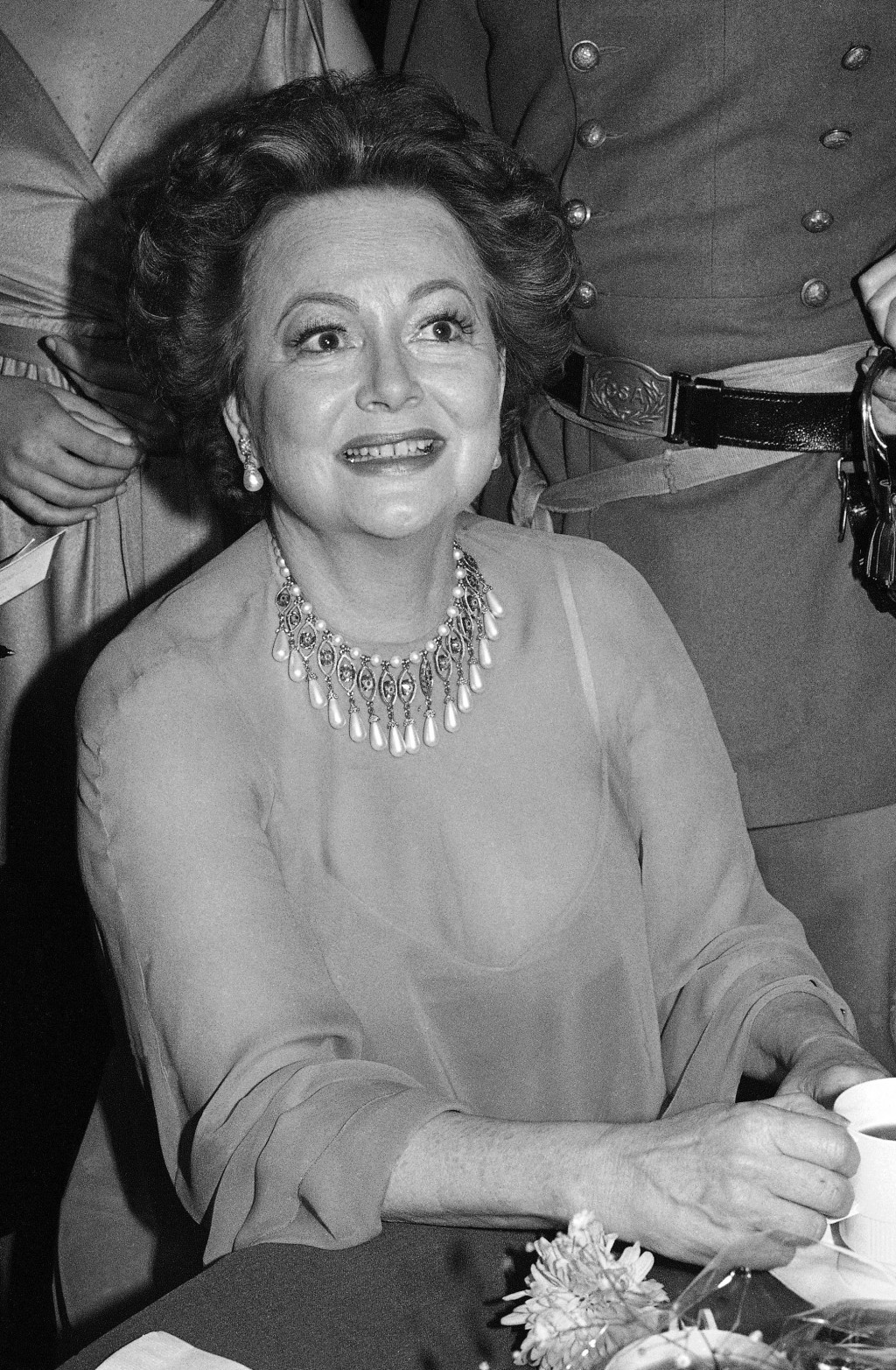 FILE - In this file photo dated Dec. 28, 1979, actress Olivia De Havilland at Hollywood dinner party. Olivia de Havilland, Oscar-winning actress has d...