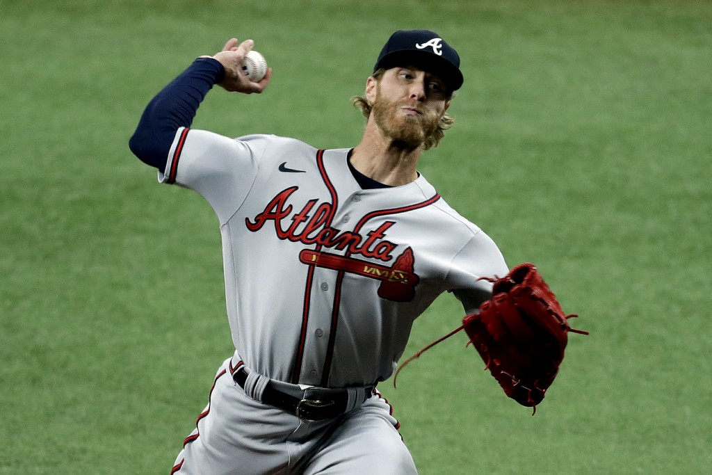 Atlanta Braves' Mike Foltynewicz pitches to the Tampa Bay Rays during the first inning of a baseball game Monday, July 27, 2020, in St. Petersburg, Fl...