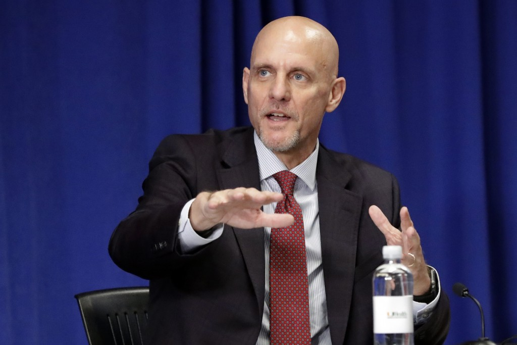 Food and Drug Administration Commissioner Dr. Stephen Hahn gestures as he speaks during a roundtable discussion at the University of Miami Miller Scho...