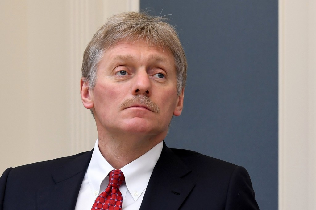 FILE - In this Tuesday, April 14, 2020 file photo, Kremlin spokesman Dmitry Peskov attends a video conference with Russian President Vladimir Putin at...