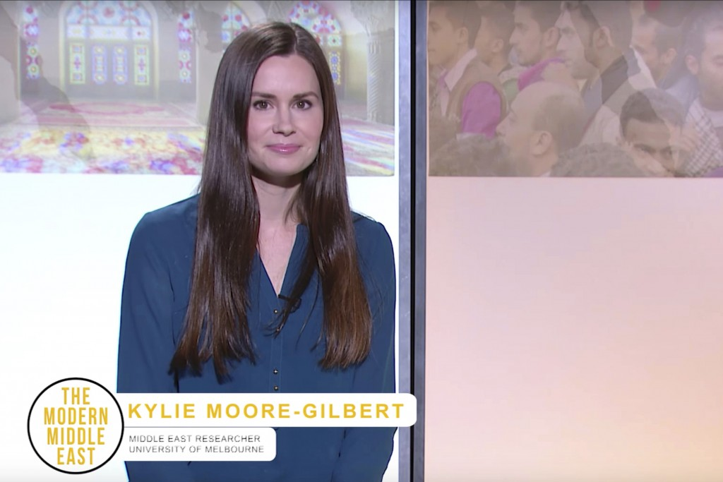This image made from a 2017 video by The Modern Middle East shows Kylie Moore-Gilbert, a University of Melbourne scholar on the Middle East. The Briti...