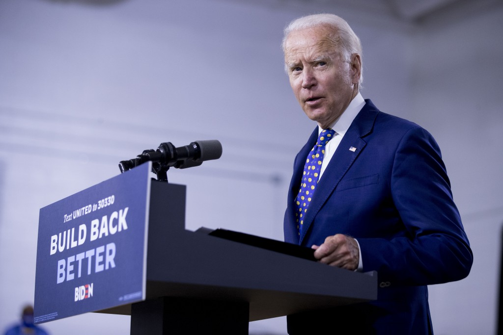 """Democratic presidential candidate former Vice President Joe Biden speaks at a campaign event at the William """"Hicks"""" Anderson Community Center in Wilmi..."""